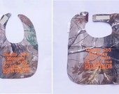 Daddy and Mommy Cant Wait To Take Me Hunting - Small OR Large Baby Bib - Orange lettering