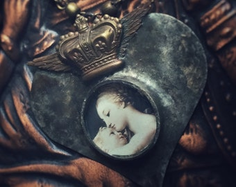 Madonna and Child Soldered Heart Necklace