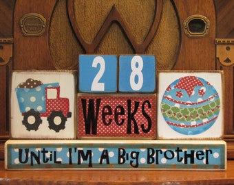Pregnancy Countdown Blocks for Big Brother, Pregnancy Countdown blocks,  Baby Boy,  Baby Room Decor,  Baby Shower Gift