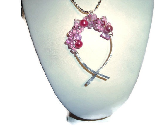 """Sterling Silver """"Hope"""" Necklace - SRAJD - Hand Forged Hope Symbol - Choice of Bead Color - Each One Individually Made - Handmade"""