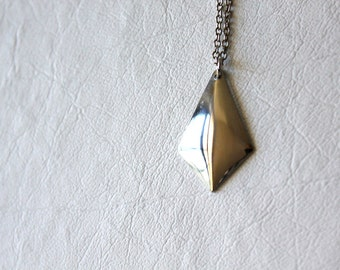 vintage silver diamond pendant necklace / geometric, minimalist, silver metal, costume jewelry