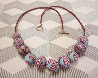 Handmade polymer clay necklace. Бусы ручной работы из полимерной глины.