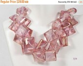 ON SALE Mystic Pink Quartz Diamond Shaped Beads Center Drilled Nuggets Step Faceted - 6.5 Inch Strand - 10 Beads - 12x12 to 20x20mm