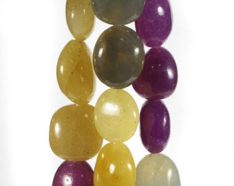 ON SALE Smooth Sapphire Nuggets Yellow Wine Red Grey White Nuggets Chunky Beads Earth Mined Precious Stone - Your Choice of Length