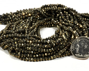 Pyrite Rondelles Beads Faceted Natural Pyrite Rondels Fools Gold Roundels Earth Mined Pyrite -  2.8mm Rondelles  - 6.5-inch Strand