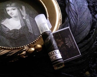 The Lady in  Black Natural Fall Perfume Sample Vial Patchouli, Rose, Green Tea,Anise, Coffee, Saffron, Ambrette