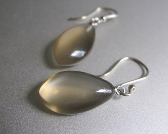 Warm Gray Moonstone Drops Solid 14k White Gold Earrings