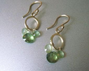 Green Kyanite and Apatite Solid 14k Gold Chandelier Earrings