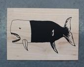 Whale - Screen print on wood veneer // Baleine - Sérigraphie sur placage de bois