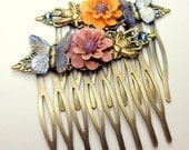 Butterfly Hair Jewelry, Antiqued Brass, Hair Combs,Butterfly,Honey Bee Combs,Flower Hair Jewellry,Bride,Bridesmaid,Wedding Accessories, OOAK