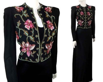 Vintage 1940s Noir Party Dress Gown with Floral Sequin Jacket Glass Beads