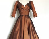 Copper Taffeta Evening Dress - Tea Length-  by Dig For Victory