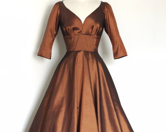Copper Taffeta Evening Dress - Tea Length (mid calf) -  by Dig For Victory
