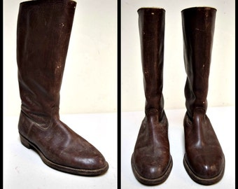 VINTAGE Brown Leather Stove Pipe Low Heel Pull On Riding Boots Size 5 1/2 M