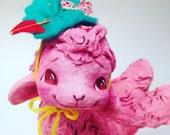 Ooak Spun Cotton, Pink Lamb, Art Figure, Spring, Valentines Day, Art Doll