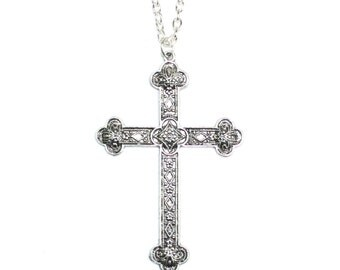 Large Detailed Silver Cross Necklace