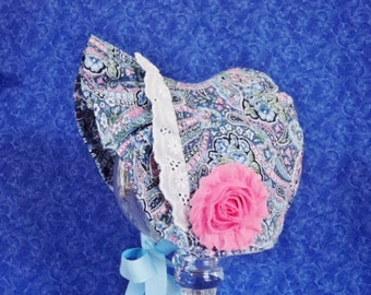 Winter Paisley Infant Baby Bonnet Blue and Pink with Fleece
