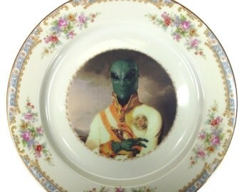 ON SALE Sir Marvin of Roswell  - Altered Antique Plate 10""