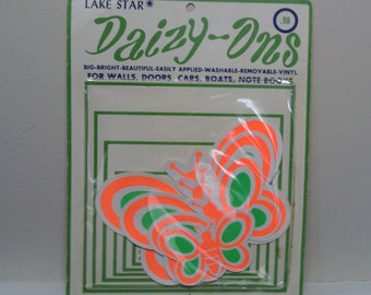 Vintage 1960's Vinyl Butterfly Decals  Pkg. Of 4  NOS
