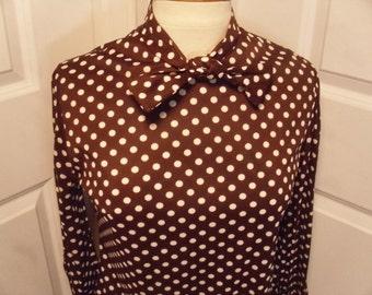 Vintage 1960's/1970's  Brown & White Polka Dot Dress  Large