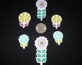 6 Pc Colorful Pinwheel Retro Flowers No Sew Iron On Appliques Cotton Patches