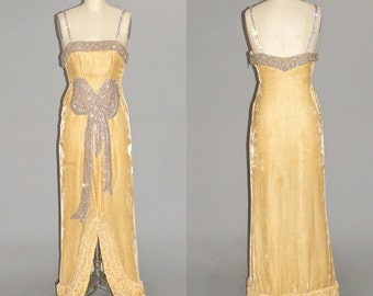 1930s Dress, 30s Art Deco Evening Gown, Beaded Gold Silk Velvet Gown with Tufted Hem, Old Hollywood Starlet
