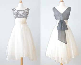 1950s Prom Dress, 50s Dress, Lace and Organza Tea Length Party Dress, Floating on Air
