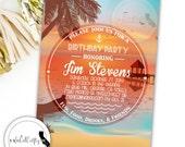 Beach Birthday Party Invitation, Beach Invitation, Tropical Invite, Sunset, Nautical, Island, DIY, Printable, Digital or Printed Invitation
