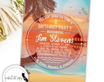Beach Birthday Party Invitation, Beach Invitation, Tropical Invite, Sunset, Island, Printed or Printable Invitations, Free Shipping