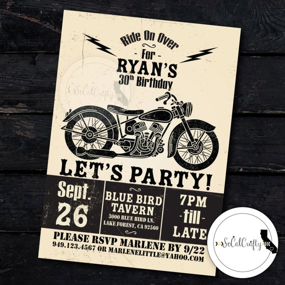 Motorcycle Birthday Party Invitation Poster Vintage – Motorcycle Party Invitations