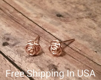 rose gold earrings free shipping roses flowers wedding gift