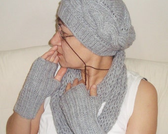 Grey Women Beanie Hat, Gloves and Scarf Set Womens Winter Accessories Fashion Set hand knitted - SALE WOMAN GIFT