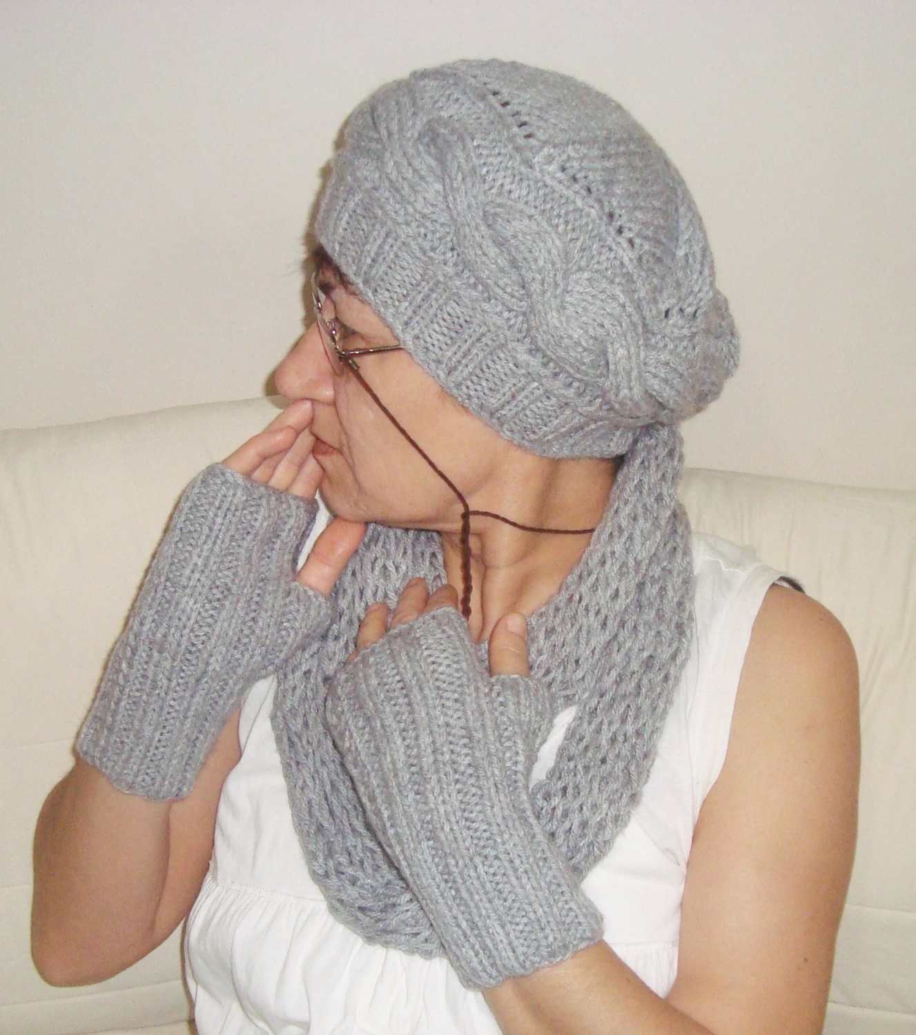 grey beanie hat gloves and scarf set womens winter