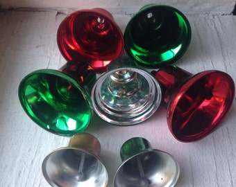 SALE- 7 Vintage Plastic and Metal Bell Christmas Decorations