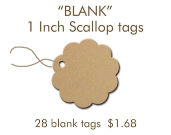 Scallop Blank Tags, 1 inch tags, Labels, Gift Tags, Blank Scallop Tags, Price Tgas