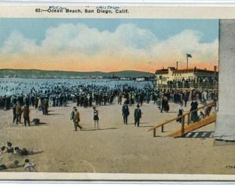 Bathing Crowd Ocean Beach San Diego California 1920s postcard