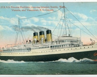 CPR SS Princess Kathleen Steamer Seattle Vancouver Victoria BC Canada postcard