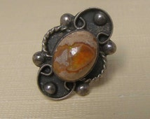 Vintage Old Pawn Ring, Sterling Silver Ring, Mexican Fire Opal Ring, Old Pawn Jewelry, 925 Ring