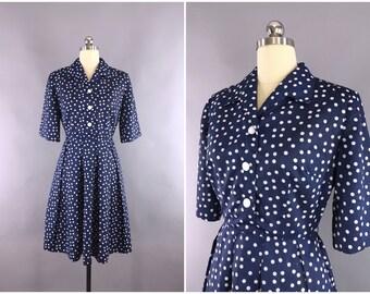 Vintage 1950s Dress / 50s Day Dress / 1950 Navy Blue Polka Dots Shirtwaist Dress / Size Medium M 6 8
