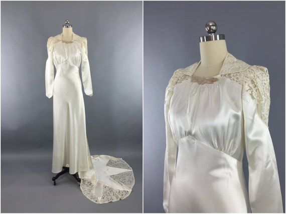 Vintage 1940s Wedding Dress / SATIN STAR / 40s Bias Cut Dress