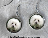 Custom Bichon Frise Drop Earrings ~ Birthday Gift ~ Dog Earrings ~ Pet Keepsake ~ Sweetheart Gift ~ Gifts for Her