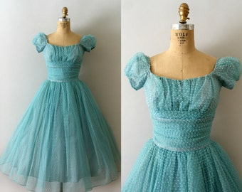 Vintage 1950s Dress - 50s Aqua Blue Dotted Tulle Party Dress