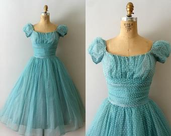 Vintage 1950s Dress - 50s Aqua Blue Dotted Tulle Party Dress