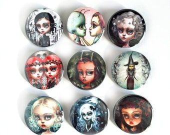 New Dark Girls Pin Back Button Set - pop surrealism pin - 9 pin-back buttons by Mab Graves