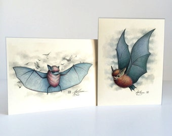 Bat Love Cards - set of 2 blank note cards - by Mab Graves