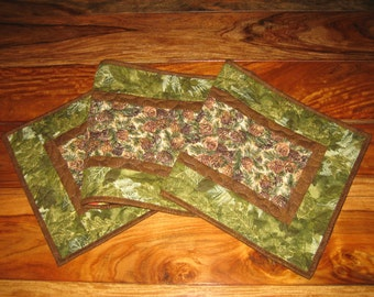 Quilted Table Runner, Pine Cones Mountain Cabin Rustic Brown Pine Cones Green Pine Boughs Fall Reversible Runner