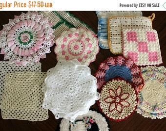 15 Assorted Crochet Pot Holders, Crocheted Heat Pads, Colorful Crochet Items 13553