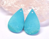 Tibetan Turquoise, Earring Bead, Natural Gemstone, Flat Tear Drop, Untreated, Cut in Montreal - 25.0 x 15.7 x 2.1 mm - 15.0 ct - 160628-22