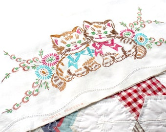 Vintage Embroidered Cotton Pillowcases, brown, pink, blue, green kittens