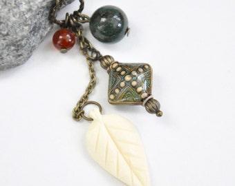 Antique Brass Mood Necklace, Boho Leaf Charm Necklace, Carnelian Gemstone Necklace, Color Changing Mood Bead Necklace, Jasper Bead Necklace